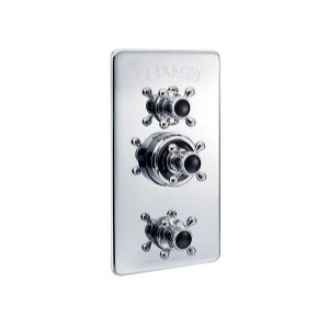 St James Concealed Classical Thermostatic Shower Valve with Integral Flow Valves - SJ7751-LHBK